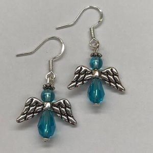 Jewelry - Blue and Silver Beaded Angel Dangle Earrings